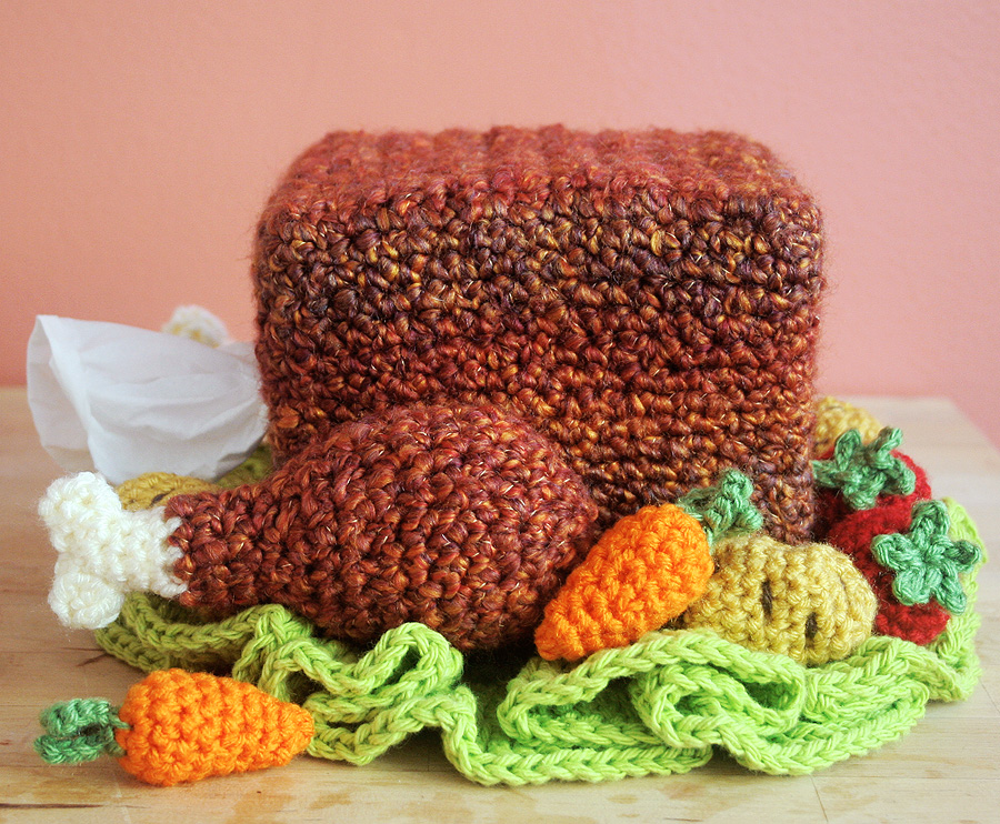 Free Crochet Pattern Turkey Tissue Box Cozy With Roasted Veggies