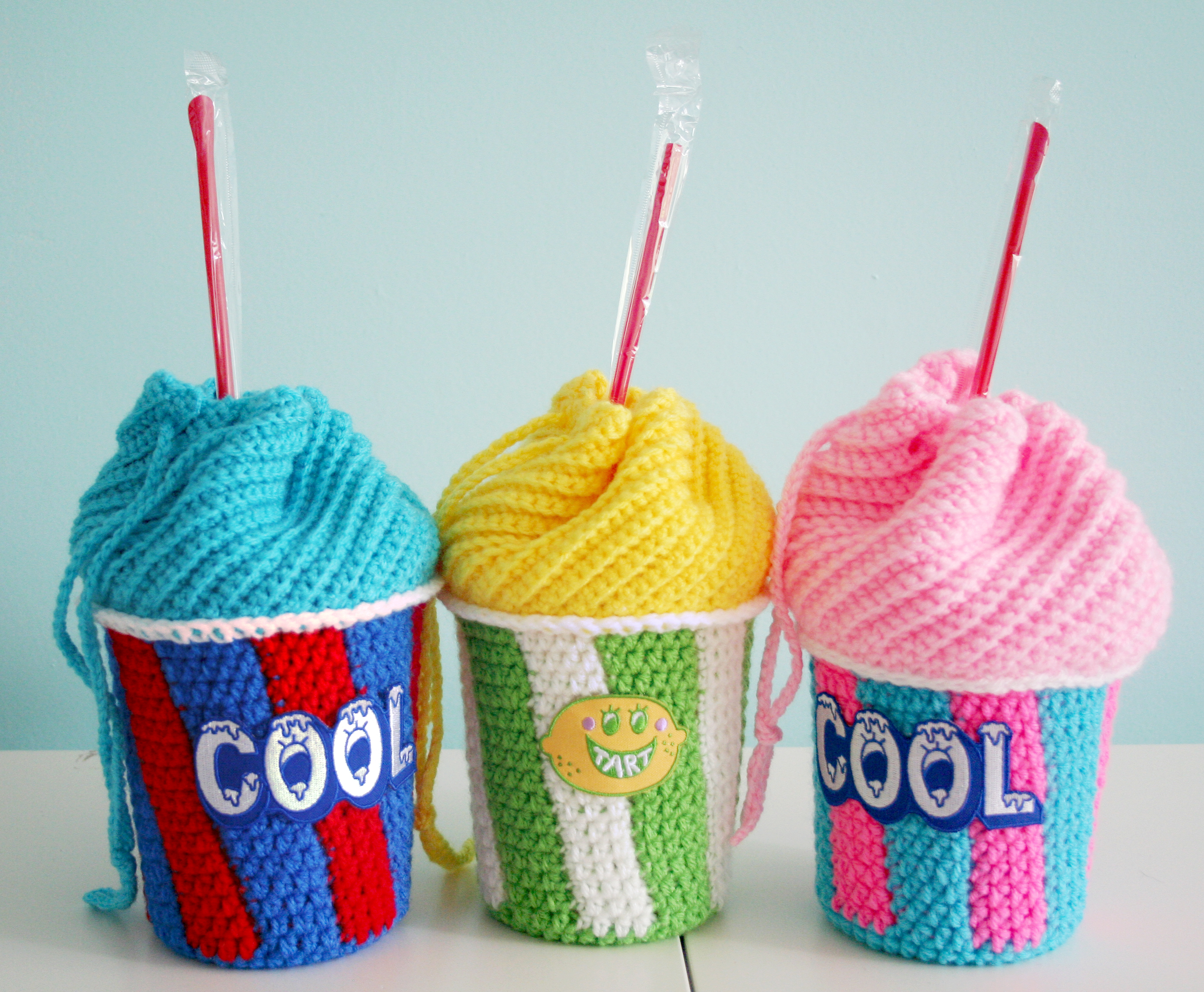 Crochet Backpack Bag Pattern : Free Crochet Pattern: Slushee Cup Drawstring Bag Twinkie Chan Blog