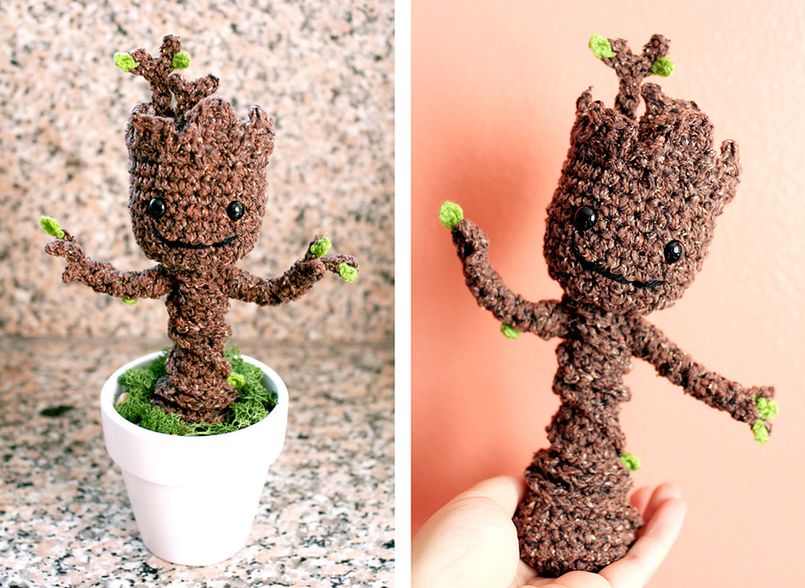 Free Crochet Pattern: Potted Baby Groot from Guardians of the Galaxy Twinki...
