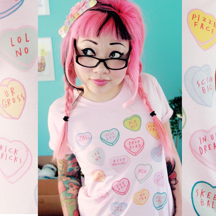 Todays Tee Rude Candy Hearts From Fashlindotcom Twinkie Chan Blog