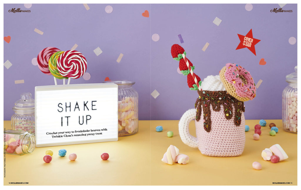 strawberry freak shake with donut topping in Mollie Makes Magazine by Twinkie Chan