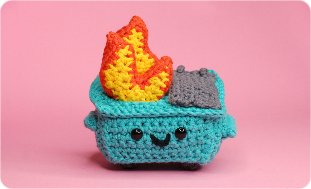 crocheted version of 100% Soft dumpster fire