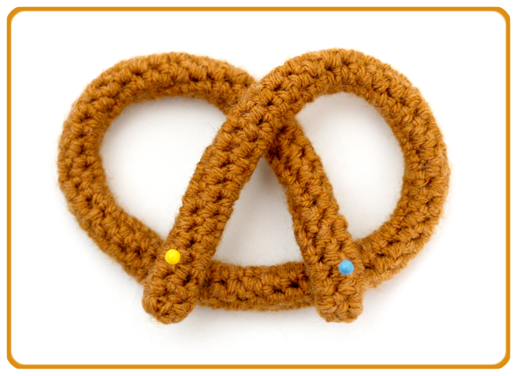 How to fold a crocheted tube into a pretzel.