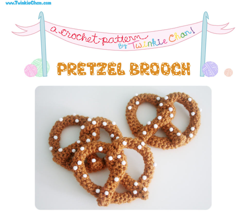 3 crocheted pretzel brooches